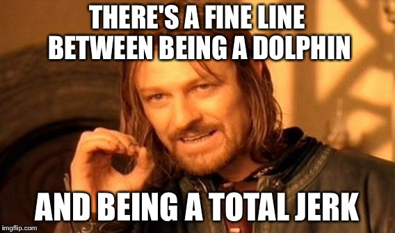 One Does Not Simply Meme | THERE'S A FINE LINE BETWEEN BEING A DOLPHIN AND BEING A TOTAL JERK | image tagged in memes,one does not simply | made w/ Imgflip meme maker