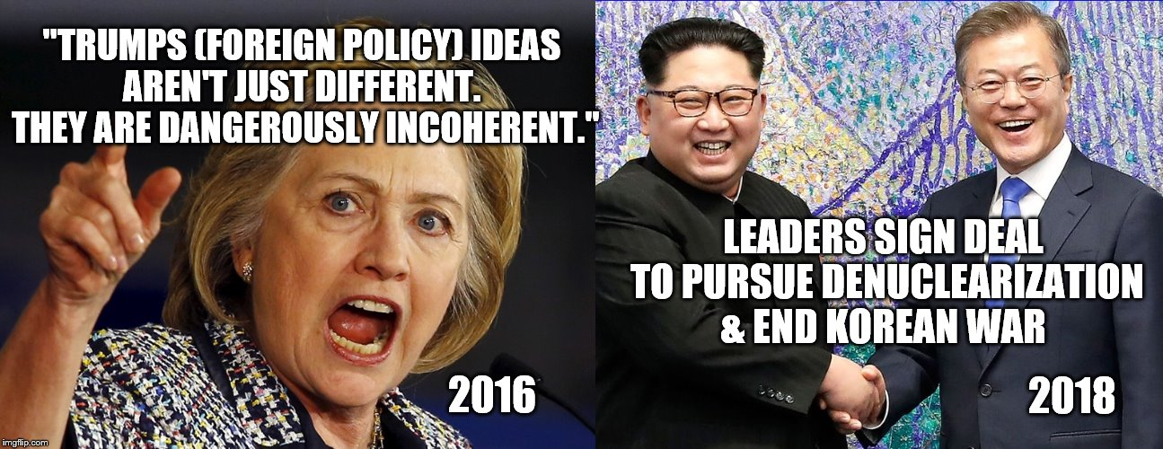 "Strong Leadership + Faith in God = Liberal Nightmares | ""TRUMPS (FOREIGN POLICY) IDEAS AREN'T JUST DIFFERENT.  THEY ARE DANGEROUSLY INCOHERENT."" LEADERS SIGN DEAL TO PURSUE DENUCLEARIZATION & END  