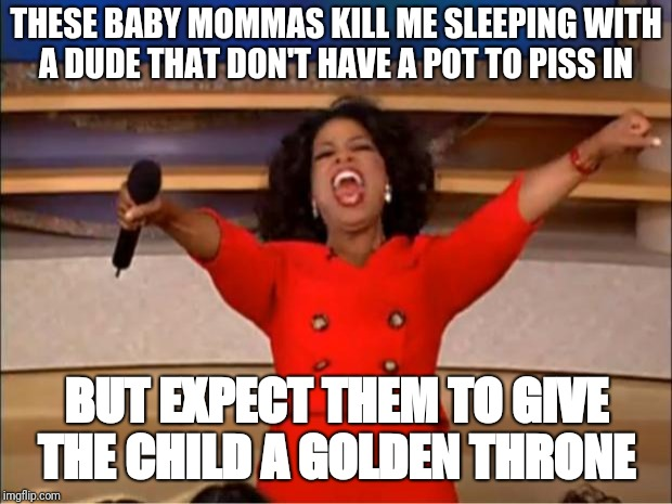 Oprah You Get A Meme | THESE BABY MOMMAS KILL ME SLEEPING WITH A DUDE THAT DON'T HAVE A POT TO PISS IN BUT EXPECT THEM TO GIVE THE CHILD A GOLDEN THRONE | image tagged in memes,oprah you get a | made w/ Imgflip meme maker