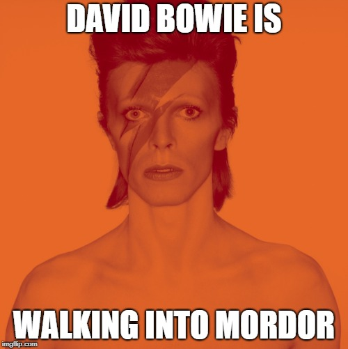 DAVID BOWIE IS WALKING INTO MORDOR | image tagged in david bowie is,david bowie,one does not simply | made w/ Imgflip meme maker