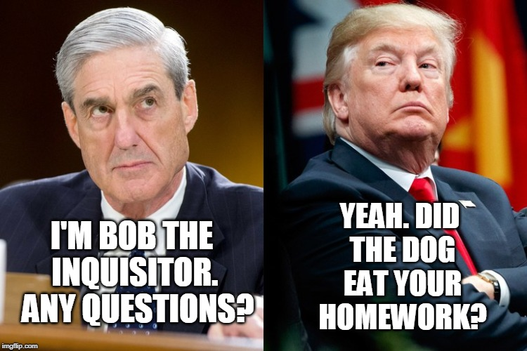 I'M BOB THE INQUISITOR.  ANY QUESTIONS? YEAH. DID THE DOG EAT YOUR HOMEWORK? | image tagged in robert mueller,president trump,election 2016,collusion | made w/ Imgflip meme maker