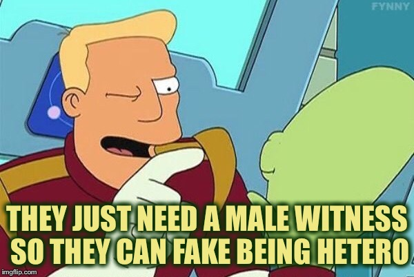 THEY JUST NEED A MALE WITNESS SO THEY CAN FAKE BEING HETERO | made w/ Imgflip meme maker