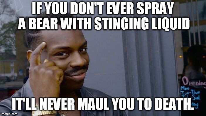 Please heed roll's warning. | IF YOU DON'T EVER SPRAY A BEAR WITH STINGING LIQUID IT'LL NEVER MAUL YOU TO DEATH. | image tagged in memes,roll safe think about it | made w/ Imgflip meme maker