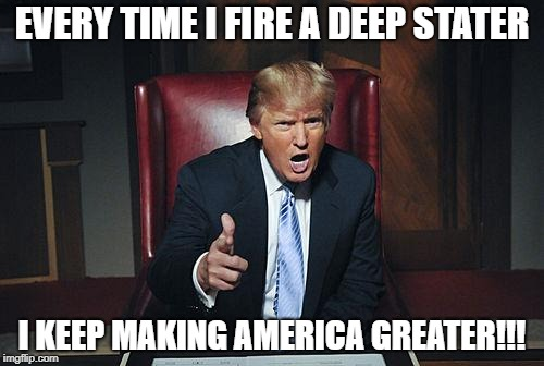 Donald Trump You're Fired | EVERY TIME I FIRE A DEEP STATER I KEEP MAKING AMERICA GREATER!!! | image tagged in donald trump you're fired | made w/ Imgflip meme maker