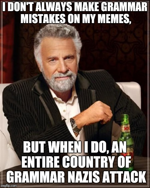 The Most Interesting Man In The World Meme | I DON'T ALWAYS MAKE GRAMMAR MISTAKES ON MY MEMES, BUT WHEN I DO, AN ENTIRE COUNTRY OF GRAMMAR NAZIS ATTACK | image tagged in memes,the most interesting man in the world | made w/ Imgflip meme maker