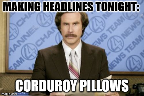 Ron Burgundy Meme | MAKING HEADLINES TONIGHT: CORDUROY PILLOWS | image tagged in memes,ron burgundy | made w/ Imgflip meme maker
