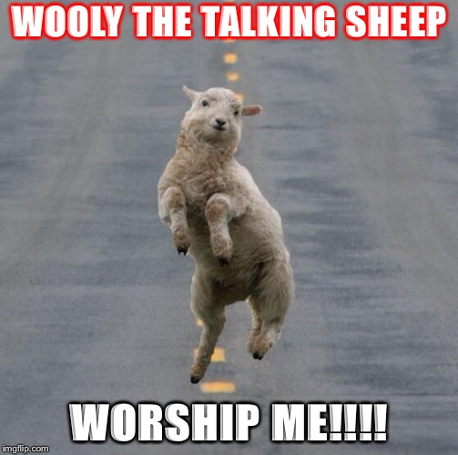 Jumping Sheep | WOOLY THE TALKING SHEEP WORSHIP ME!!!! | image tagged in jumping sheep | made w/ Imgflip meme maker