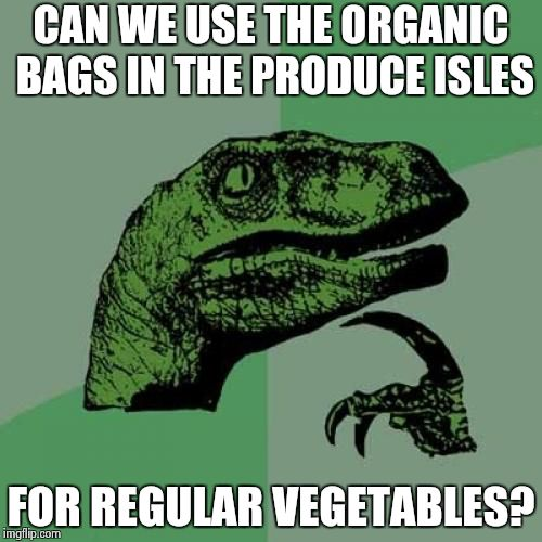 Philosoraptor Meme | CAN WE USE THE ORGANIC BAGS IN THE PRODUCE ISLES FOR REGULAR VEGETABLES? | image tagged in memes,philosoraptor | made w/ Imgflip meme maker