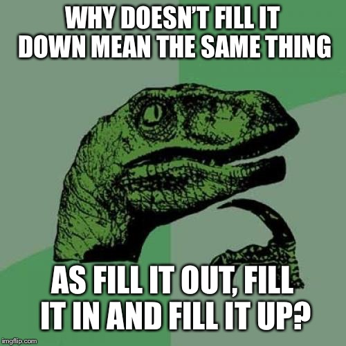 Philosoraptor Meme | WHY DOESN'T FILL IT DOWN MEAN THE SAME THING AS FILL IT OUT, FILL IT IN AND FILL IT UP? | image tagged in memes,philosoraptor | made w/ Imgflip meme maker