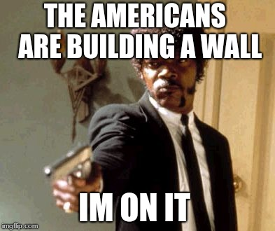 Say That Again I Dare You Meme | THE AMERICANS  ARE BUILDING A WALL IM ON IT | image tagged in memes,say that again i dare you | made w/ Imgflip meme maker
