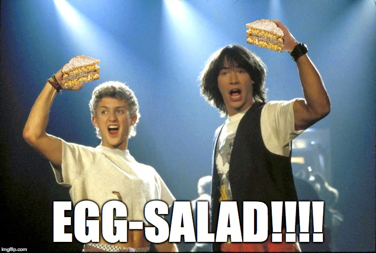 Bill and Ted's Eggsalad Adventure | EGG-SALAD!!!! | image tagged in bill and ted | made w/ Imgflip meme maker