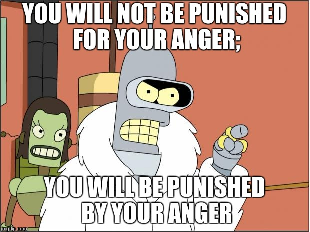 Bender Meme | YOU WILL NOT BE PUNISHED FOR YOUR ANGER; YOU WILL BE PUNISHED BY YOUR ANGER | image tagged in memes,bender | made w/ Imgflip meme maker