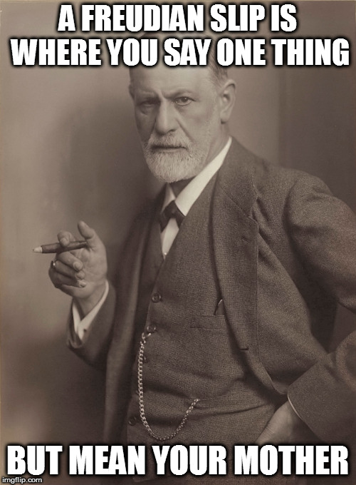 And sometimes a cigar... | A FREUDIAN SLIP IS WHERE YOU SAY ONE THING BUT MEAN YOUR MOTHER | image tagged in memes,sigmund freud,freudian slip | made w/ Imgflip meme maker