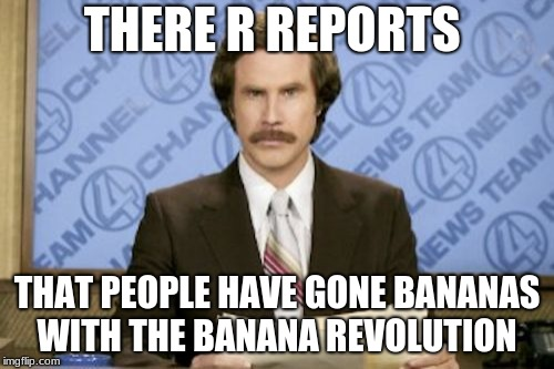 Ron Burgundy Meme | THERE R REPORTS THAT PEOPLE HAVE GONE BANANAS WITH THE BANANA REVOLUTION | image tagged in memes,ron burgundy | made w/ Imgflip meme maker