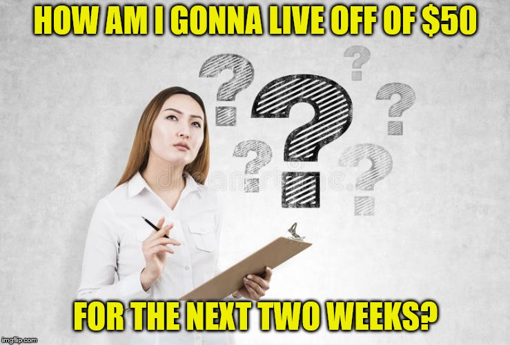 HOW AM I GONNA LIVE OFF OF $50 FOR THE NEXT TWO WEEKS? | made w/ Imgflip meme maker