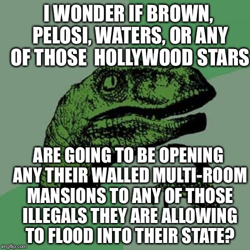 Philosoraptor Meme | I WONDER IF BROWN, PELOSI, WATERS, OR ANY OF THOSE  HOLLYWOOD STARS ARE GOING TO BE OPENING ANY THEIR WALLED MULTI-ROOM MANSIONS TO ANY OF T | image tagged in philosoraptor,illegal aliens,california,border wall,scumbag hollywood,memes | made w/ Imgflip meme maker