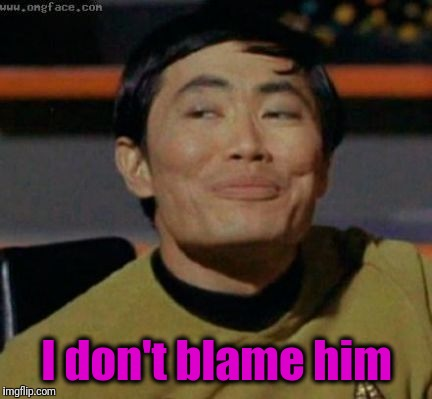 sulu | I don't blame him | image tagged in sulu | made w/ Imgflip meme maker