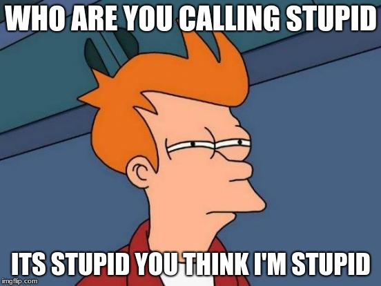 Futurama Fry Meme | WHO ARE YOU CALLING STUPID ITS STUPID YOU THINK I'M STUPID | image tagged in memes,futurama fry | made w/ Imgflip meme maker
