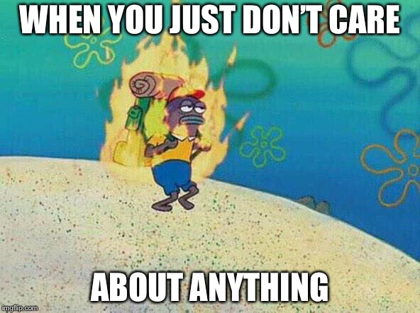 Burning fish spongebob | WHEN YOU JUST DON'T CARE ABOUT ANYTHING | image tagged in burning fish spongebob | made w/ Imgflip meme maker