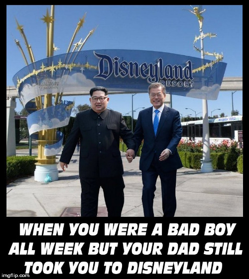 image tagged in kim jong un,north korea,south korea,disneyland,president,kim jong-un | made w/ Imgflip meme maker