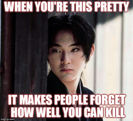 WHEN YOU'RE THIS PRETTY IT MAKES PEOPLE FORGET HOW WELL YOU CAN KILL | image tagged in gohatto,sozaburo kano,pretty boy,samurai,badass,japan | made w/ Imgflip meme maker