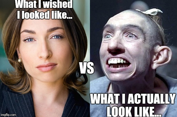 What I wished I looked like... WHAT I ACTUALLY LOOK LIKE... VS | image tagged in beauty vs reality | made w/ Imgflip meme maker