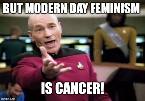 Picard Wtf Meme | BUT MODERN DAY FEMINISM IS CANCER! | image tagged in memes,picard wtf | made w/ Imgflip meme maker