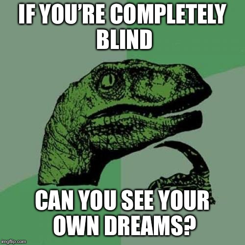 What???? Call A Scientist!! | IF YOU'RE COMPLETELY BLIND CAN YOU SEE YOUR OWN DREAMS? | image tagged in memes,philosoraptor | made w/ Imgflip meme maker