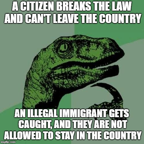 Philosoraptor Meme | A CITIZEN BREAKS THE LAW AND CAN'T LEAVE THE COUNTRY AN ILLEGAL IMMIGRANT GETS CAUGHT, AND THEY ARE NOT ALLOWED TO STAY IN THE COUNTRY | image tagged in memes,philosoraptor | made w/ Imgflip meme maker