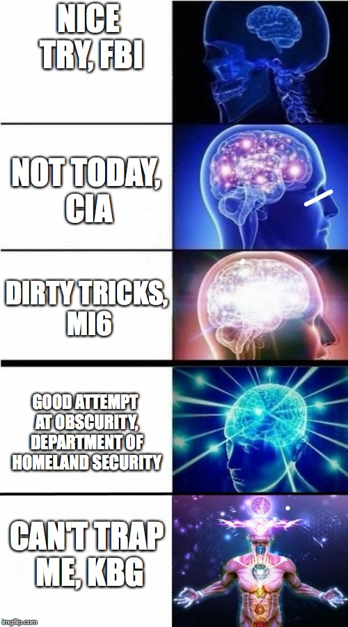 Incognito is your friend | NICE TRY, FBI CAN'T TRAP ME, KBG NOT TODAY, CIA DIRTY TRICKS, MI6 GOOD ATTEMPT AT OBSCURITY, DEPARTMENT OF HOMELAND SECURITY | image tagged in expanding brain meme | made w/ Imgflip meme maker