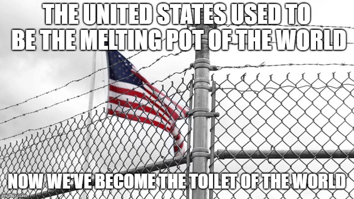 The Melting Pot | THE UNITED STATES USED TO BE THE MELTING POT OF THE WORLD NOW WE'VE BECOME THE TOILET OF THE WORLD | image tagged in melting pot,toilet,migrants,coming,here | made w/ Imgflip meme maker