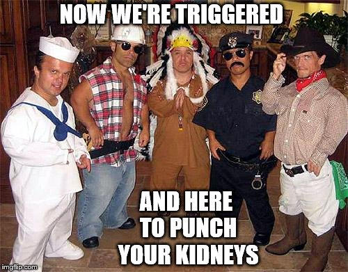 NOW WE'RE TRIGGERED AND HERE TO PUNCH YOUR KIDNEYS | made w/ Imgflip meme maker