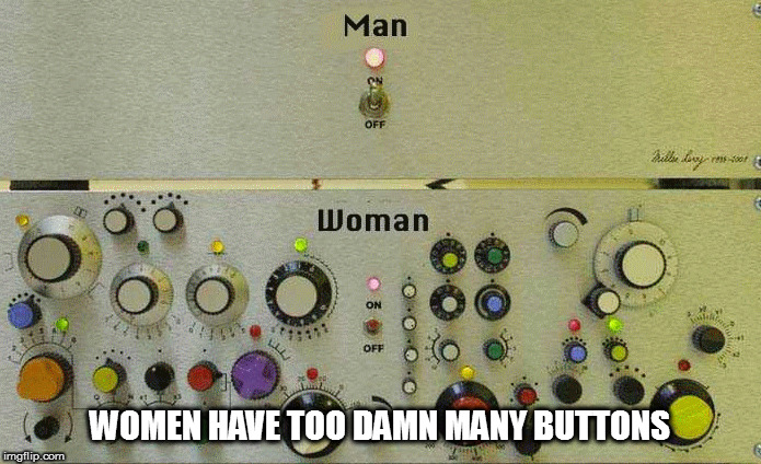 WOMEN HAVE TOO DAMN MANY BUTTONS | made w/ Imgflip meme maker