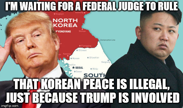 They are against Trump more than they are for peace | I'M WAITING FOR A FEDERAL JUDGE TO RULE THAT KOREAN PEACE IS ILLEGAL, JUST BECAUSE TRUMP IS INVOLVED | image tagged in president trump,korea,liberal courts | made w/ Imgflip meme maker
