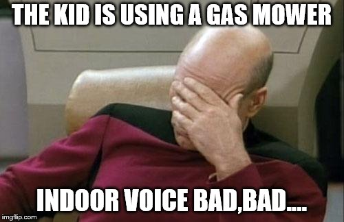 Captain Picard Facepalm Meme | THE KID IS USING A GAS MOWER INDOOR VOICE BAD,BAD.... | image tagged in memes,captain picard facepalm | made w/ Imgflip meme maker