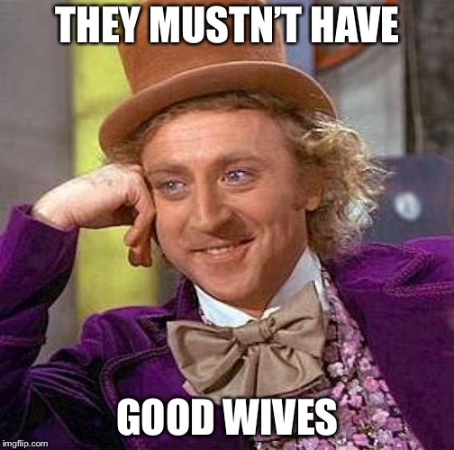 Creepy Condescending Wonka Meme | THEY MUSTN'T HAVE GOOD WIVES | image tagged in memes,creepy condescending wonka | made w/ Imgflip meme maker