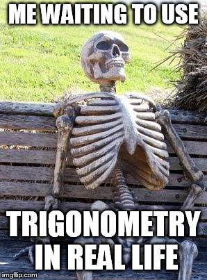 Waiting Skeleton Meme | ME WAITING TO USE TRIGONOMETRY IN REAL LIFE | image tagged in memes,waiting skeleton | made w/ Imgflip meme maker