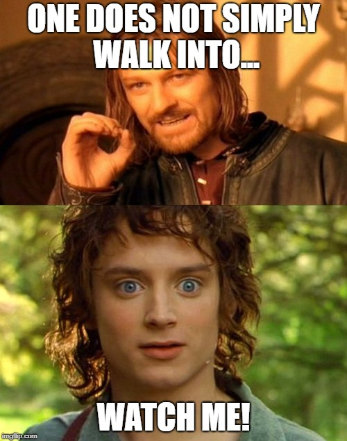 He Just Did It! | ONE DOES NOT SIMPLY WALK INTO... WATCH ME! | image tagged in one does not simply,surprised frodo | made w/ Imgflip meme maker
