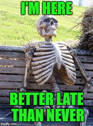 Waiting Skeleton Meme | I'M HERE BETTER LATE THAN NEVER | image tagged in memes,waiting skeleton | made w/ Imgflip meme maker