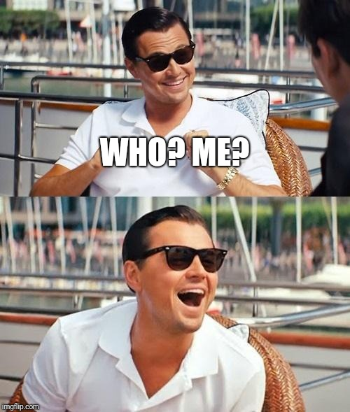 Leonardo Dicaprio Wolf Of Wall Street Meme | WHO? ME? | image tagged in memes,leonardo dicaprio wolf of wall street | made w/ Imgflip meme maker