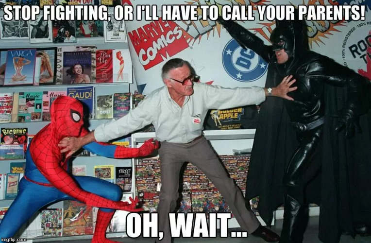 image tagged in batman,spiderman,stan lee | made w/ Imgflip meme maker