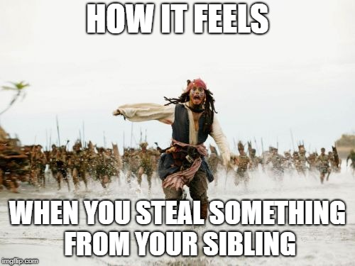 Jack Sparrow Being Chased Meme | HOW IT FEELS WHEN YOU STEAL SOMETHING FROM YOUR SIBLING | image tagged in memes,jack sparrow being chased | made w/ Imgflip meme maker