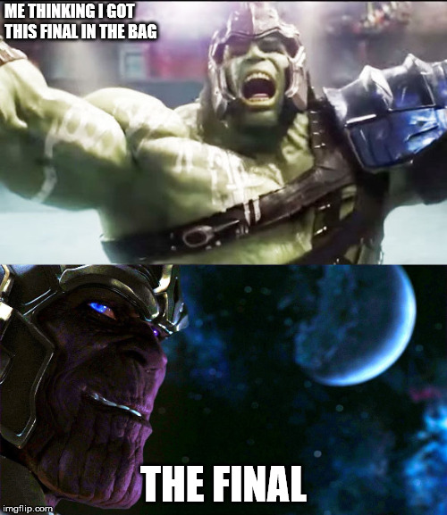 Revengers, Finals Suck | ME THINKING I GOT THIS FINAL IN THE BAG THE FINAL | image tagged in finals,thanos | made w/ Imgflip meme maker