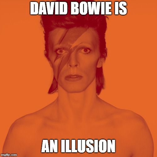 DAVID BOWIE IS AN ILLUSION | image tagged in david bowie is,david bowie | made w/ Imgflip meme maker