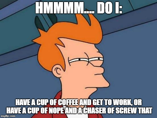 Futurama Fry Meme | HMMMM.... DO I: HAVE A CUP OF COFFEE AND GET TO WORK, OR HAVE A CUP OF NOPE AND A CHASER OF SCREW THAT | image tagged in memes,futurama fry | made w/ Imgflip meme maker