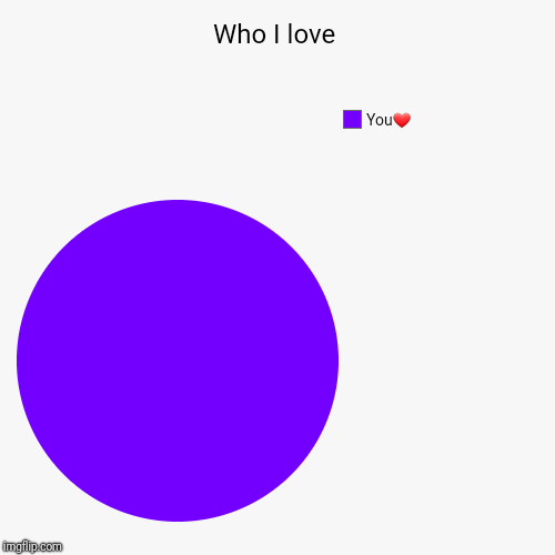Who I love | You❤ | image tagged in funny,pie charts | made w/ Imgflip pie chart maker