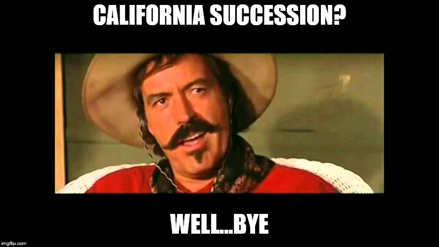 CALIFORNIA SUCCESSION? WELL...BYE | made w/ Imgflip meme maker