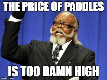 Too Damn High Meme | THE PRICE OF PADDLES IS TOO DAMN HIGH | image tagged in memes,too damn high | made w/ Imgflip meme maker