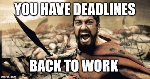 Sparta Leonidas Meme | YOU HAVE DEADLINES BACK TO WORK | image tagged in memes,sparta leonidas | made w/ Imgflip meme maker