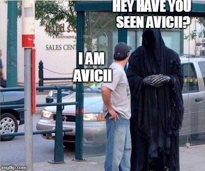 HEY HAVE YOU SEEN AVICII? I AM AVICII | image tagged in grim reaper | made w/ Imgflip meme maker